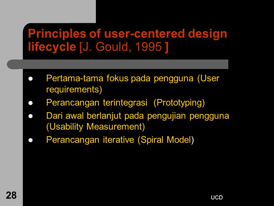 Principles of user-centered design lifecycle [J. Gould, 1995 ]